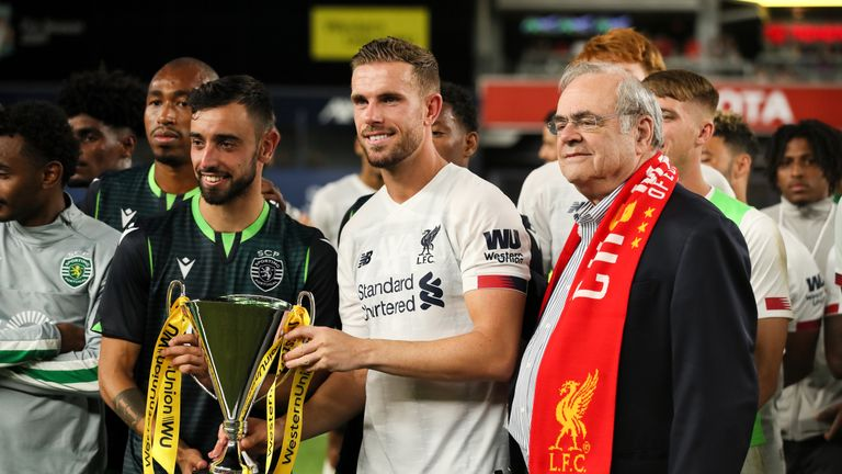 Captains Bruno Fernandes and Jordan Henderson shared the Western Union Cup
