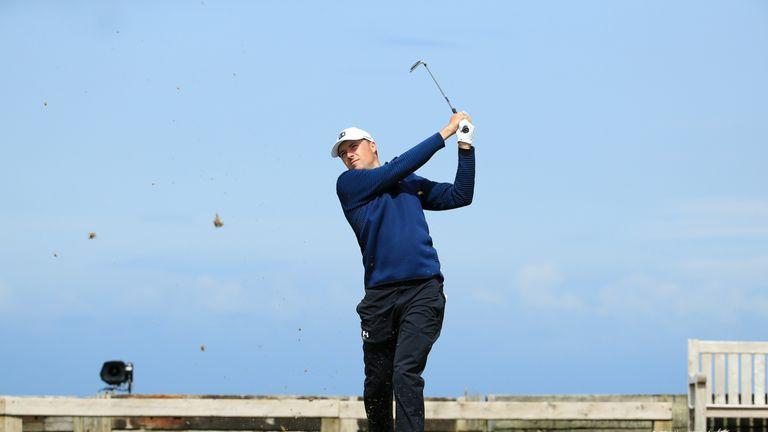 Jordan Spieth tees off on the sixth hole at Royal Portrush
