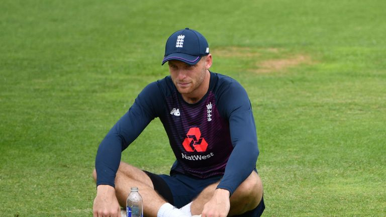 Jos Buttler looks focused during practice ahead of Sunday's final at Lord's