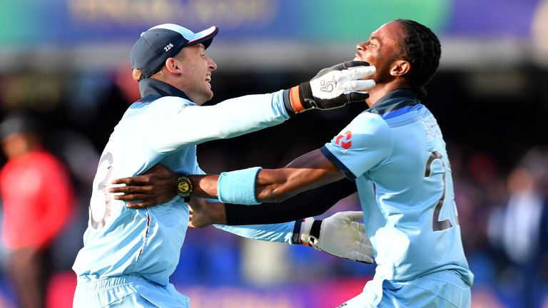 Jofra Archer was chosen to bowl the Super Over for England and held his nerve after being hit for six second ball