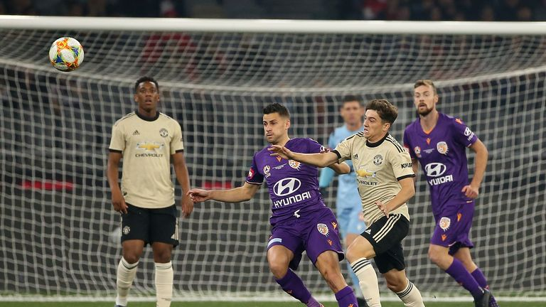 United debutant Daniel James was the star performer in the first half in Perth