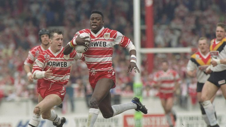 Martin Offiah ran in five tries against Bradford in 1992