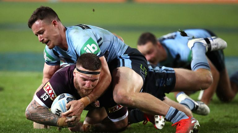 Josh McGuire scored the first of two Queensland tries in the final 10 minutes as they turned around a 12 point deficit