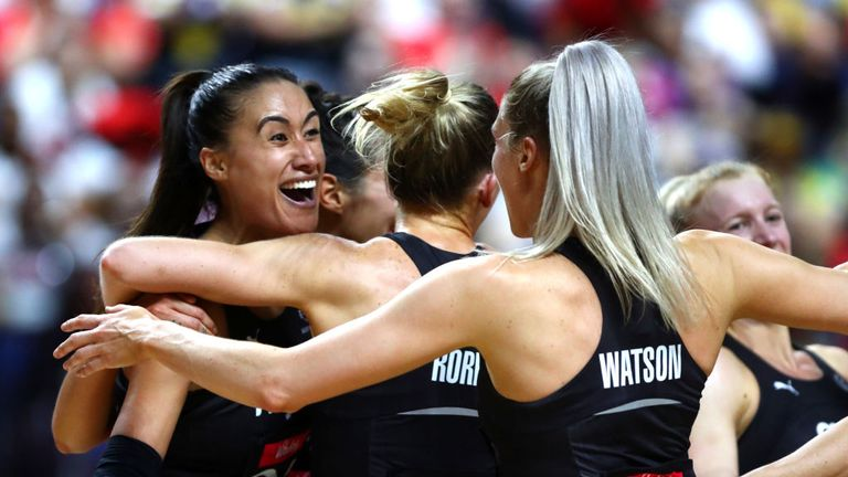 New Zealand celebrate their semi-final victory over England at the Vitality Netball World Cup