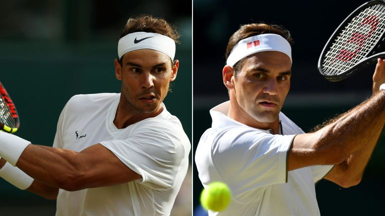 Rafael Nadal (left) and Roger Federer meet for a place in the Wimbledon final