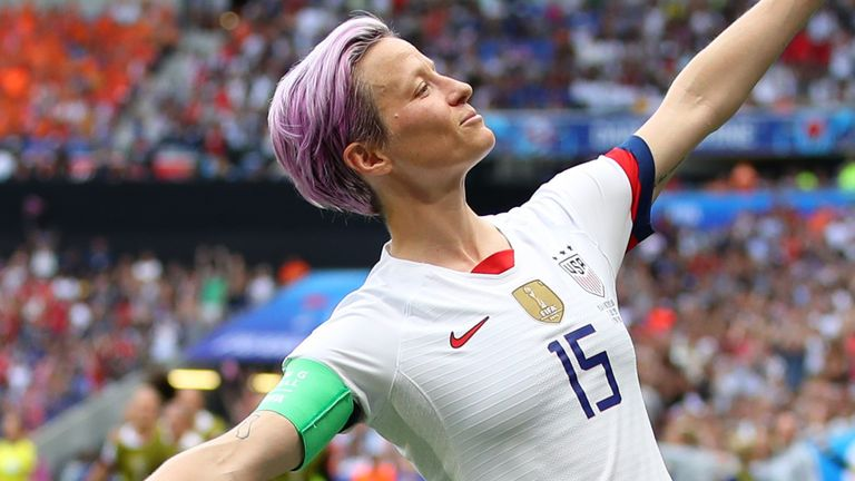 Megan Rapinoe celebrates firing the USA into the lead in the Women's World Cup final