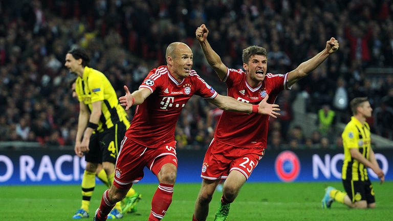 Arjen Robben celebrates the winner for Bayern Munich at Wembley in the 2013 Champions League final