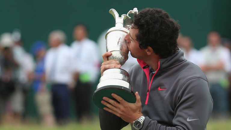 Rory McIlroy kisses the Claret Jug in 2014
