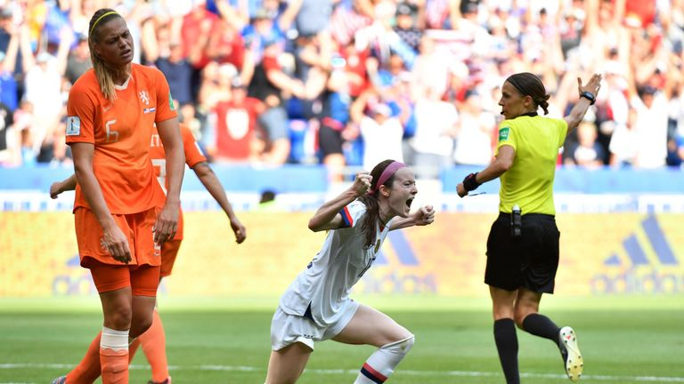 Rose Lavelle celebrates scoring the USA's second goal in the Women's World Cup final