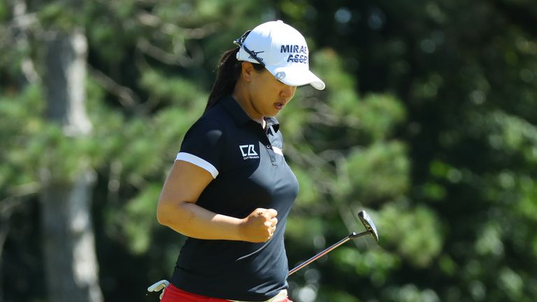 Kim celebrates after birdieing the 15th hole during the final round