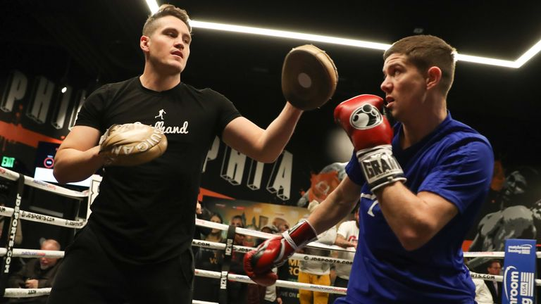 Luke Campbell during a pad session with trainer Shane McGuigan