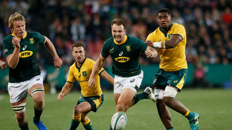 Andre Esterhuizen (right) played in the Boks' 35-17 victory over Australia
