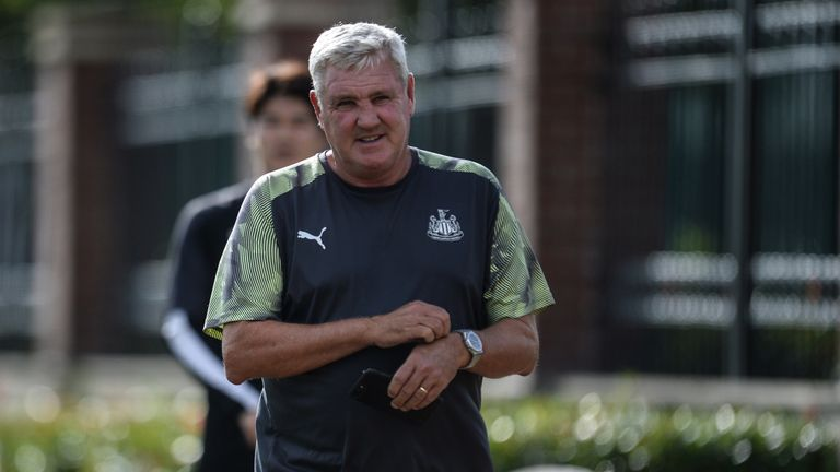 Steve Bruce took charge of his first training session as Newcastle head coach on Thursday