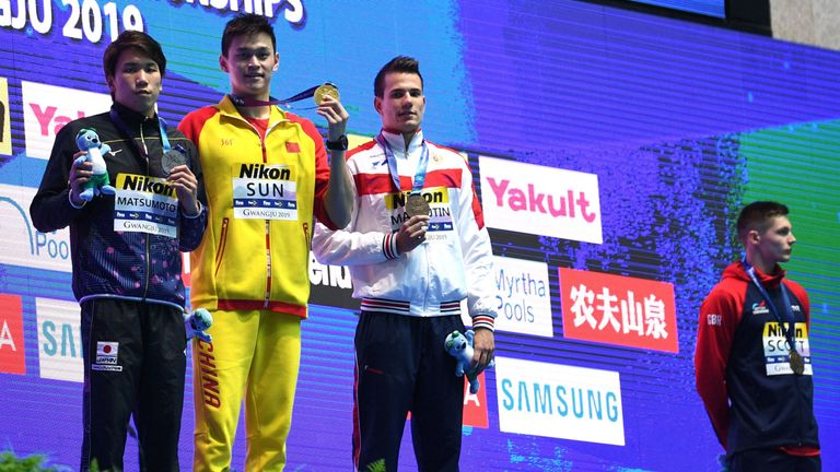 British swimmer Duncan Scott refused to share the podium with China's Sun Yang after the men's 200m freestyle at the World Aquatics Championship in Gwangju
