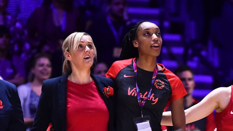 Tracey Neville and Layla Guscoth together to sing the national anthem after Guscoth returned to be with the squad following her  ACL operation