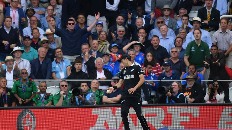 Trent Boult steps on the boundary cushion having caught Ben Stokes, giving the batsman six rather than dismissing him