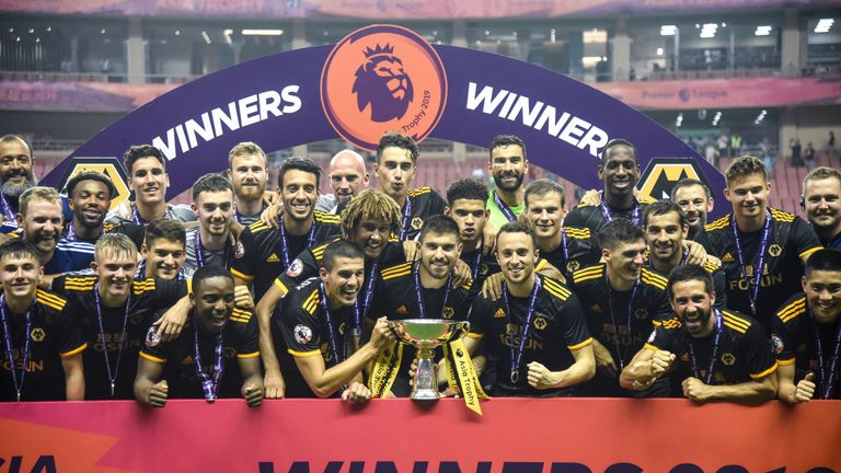 Wolves celebrate winning the Premier League Asia Trophy