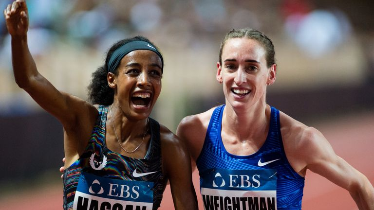 Hassan celebrates with Britain's Laura Weightman, who finished second in a personal best time