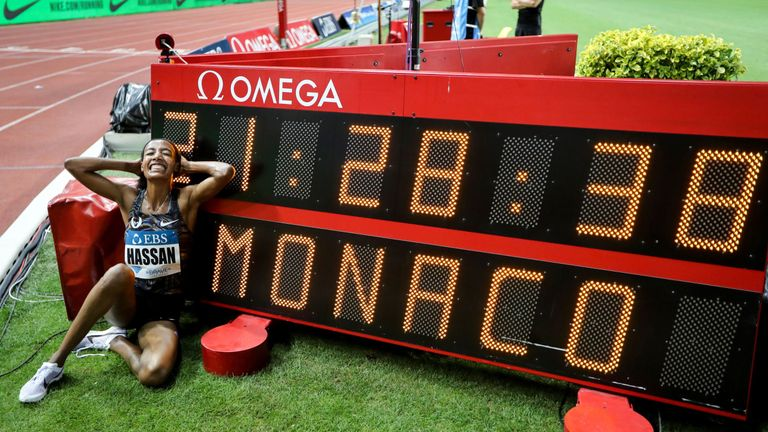 Sifan Hassan celebrates breaking the world mile record at the Diamond League meeting in Monaco