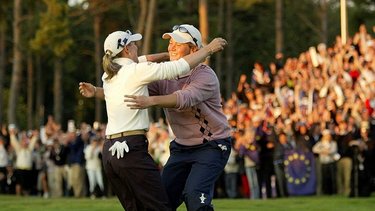 Sorenstam (left) celebrated the point with Pettersen