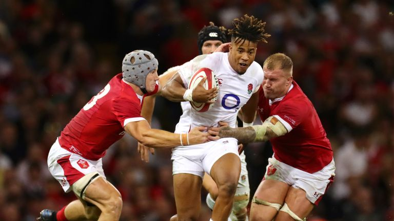 Anthony Watson in action during England's 13-6 loss to Wales in Cardiff