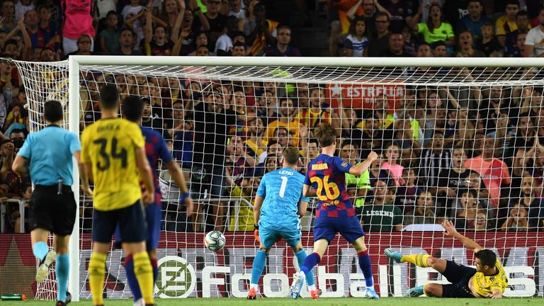 Barcelona equalise despite Sokratis' best efforts to keep Ainsley Maitland-Niles' own goal out