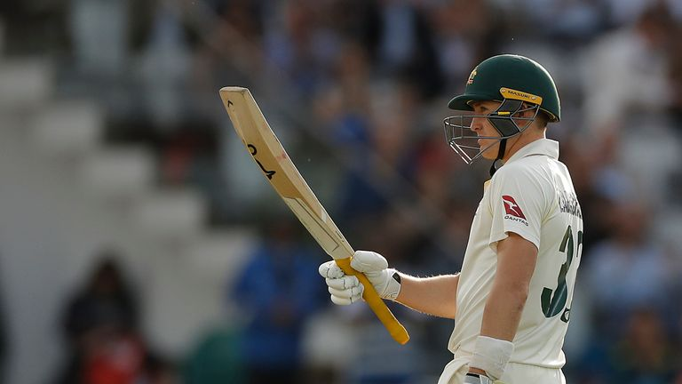 Marnus Labuschagne acknowledges his half-century against England at Lord's