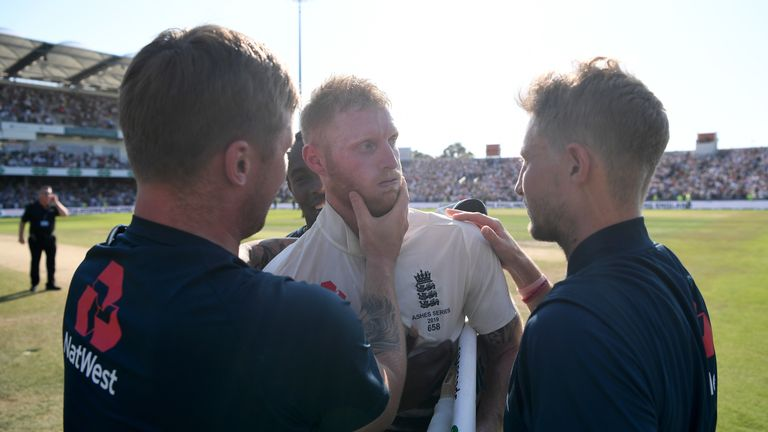 Stokes with Jason Roy and Root after his incredible Ashes century at Headingley