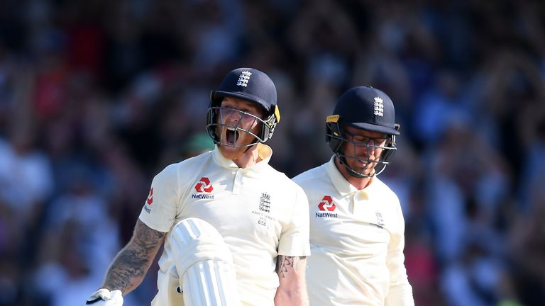 Leach (left) was an unlikely batting hero last summer after he and Ben Stokes saw England to a gripping one-wicket victory in the third Ashes Test against Australia