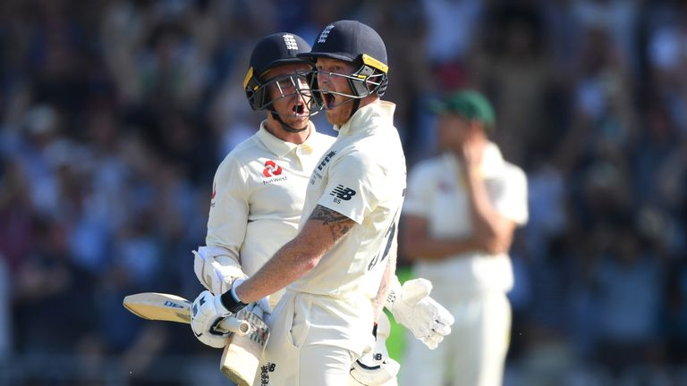 Jack Leach joined Ben Stokes at the crease with 73 runs still required for victory
