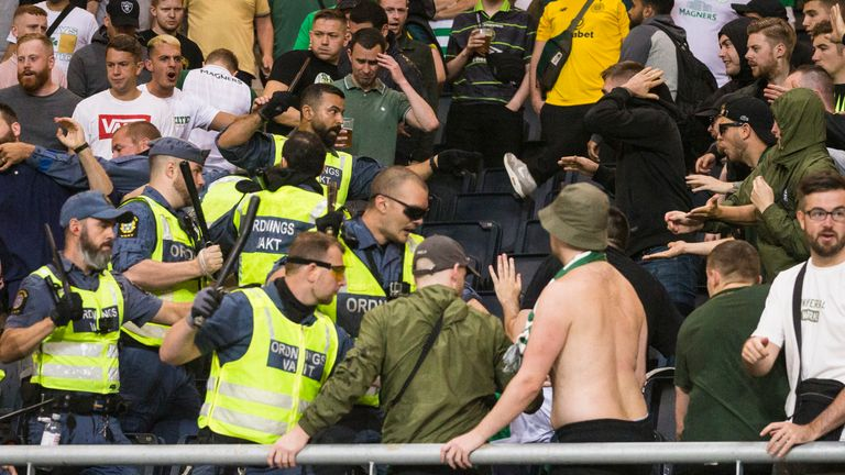 Celtic fans clash with security staff in Stockholm