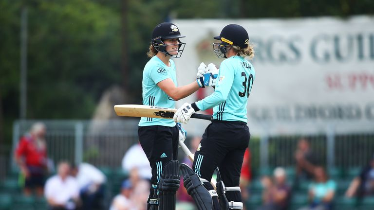 There was disappointment for Surrey Stars' Nat Sciver and Sarah Taylor as their match against Southern Vipers was abandoned without a ball being bowled