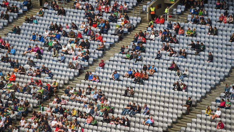 There were large sections of empty seats in Croke Park on Sunday