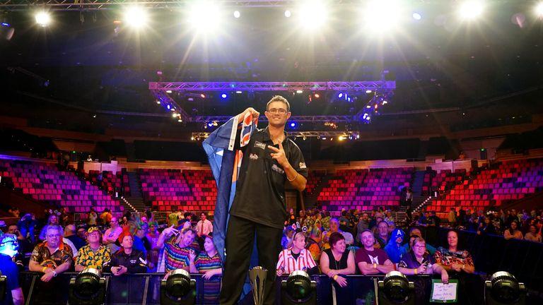 Damon Heta celebrating his victory at the  2019 Brisbane Darts Masters