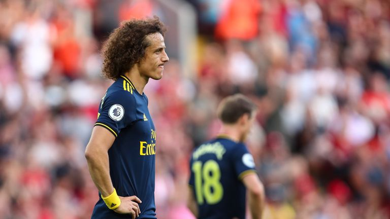 Luiz conceded a penalty in Arsenal's Anfield defeat