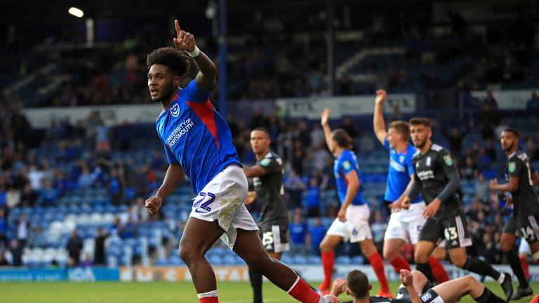 Ellis Harrison celebrates after scoring his first goal for Portsmouth against Birmingham