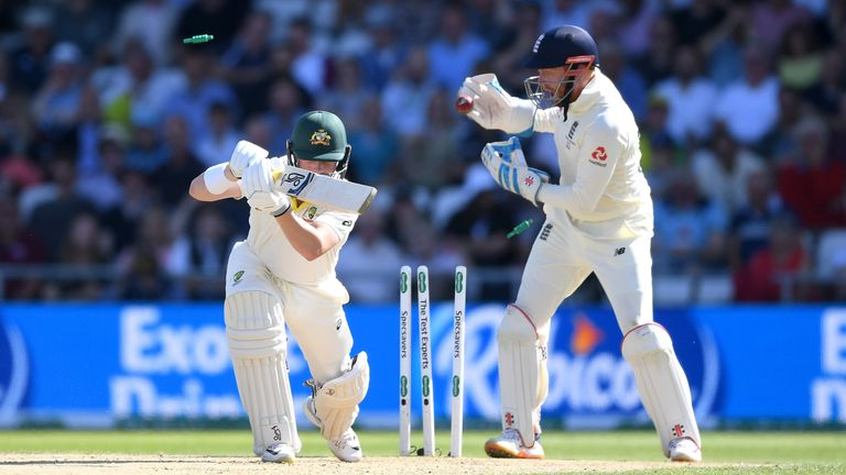 Marcus Harris was bowled by Jack Leach as England looked to fight back