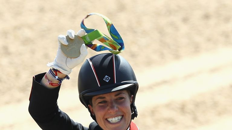 Charlotte Dujardin celebrates at the Rio Olympic Games in 2016