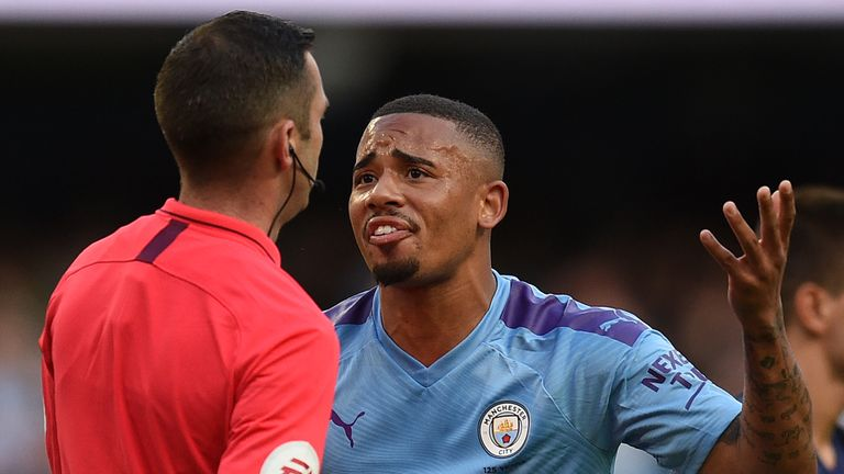 Gabriel Jesus pleads with Michael Oliver after his last-minute winner is ruled out by VAR