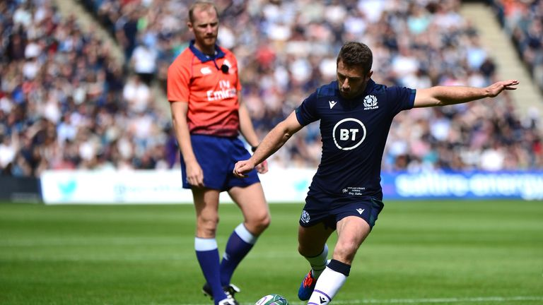 Laidlaw kicks a penalty early in the first half  at Murrayfield