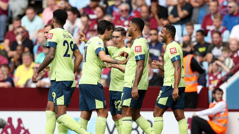 Harry Wilson celebrates with teammates after doubling Bournemouth's lead
