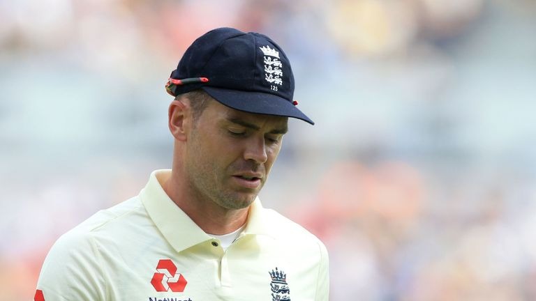 James Anderson trudges off injured at Edgbaston on day one of the Ashes
