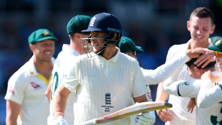 Joe Root trudges off after being dismissed by five-wicket Josh Hazlewood for a duck