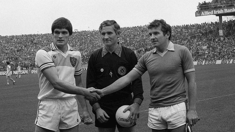John Egan Sr, right, captained the Kingdom in the 1982 decider