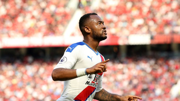 Jordan Ayew celebrates his opener against Manchester United - he's 5/1 to bag first this weekend