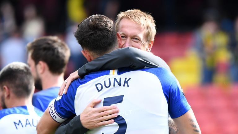 Graham Potter shows his appreciation of Lewis Dunk's performance