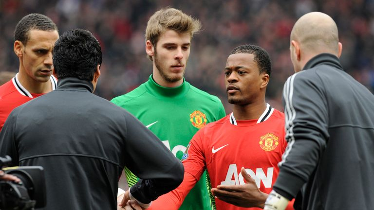 Luis Suarez refused to shake the hand of Patrice Evra ahead of Liverpool's game against Manchester United in February 2012