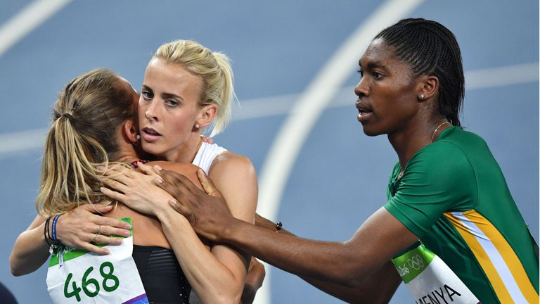 Team GB runner Lynsey Sharp finished sixth as Semenya won the women's 800m at the 2016 Olympics in Rio