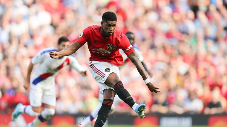 Marcus Rashford misses a second-half penalty