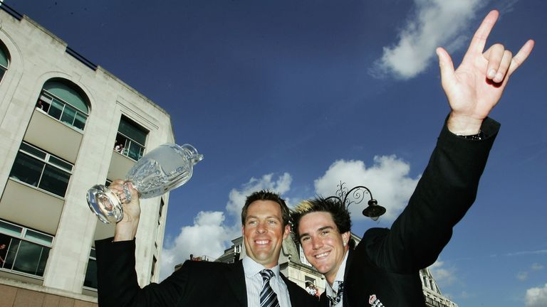 Pietersen and Marcus Trescothick (left) during England's Ashes celebrations